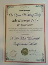 Personalised Birthday Anniversary Wedding Gift Best Dad Mum etc Certificate P1