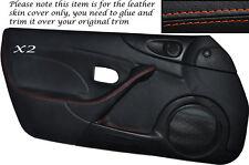 ORANGE STITCH 2XFULL DOOR CARD SKIN COVER FITS MAZDA MX5 MK2 MK2.5 00-05 STYLE 2