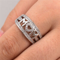 Elegant Women Rings for Mother 925 Silver Jewelry White Sapphire Ring Size 6-10