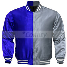 Letterman Baseball College Varsity Bomber Sports Jacket Royal Blue Silver Satin