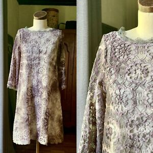 DYED PETALS Upcycled Botanically Hand Dyed Tie-Dyed Shift Lace Dress 4 S/M