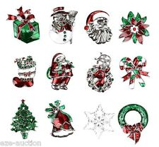 Christmas Gift Brooch Pin Wholesale 12pc Silver Assorted