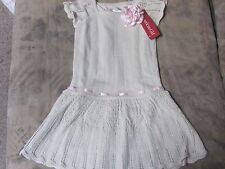 AMERICAN GIRL Sweet spring SWEATER DRESS Silvery Glittery White 16 CORSAGE NWTS