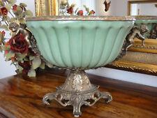Luxus Prunkschale Engel Porzellan Bronze Jugendstil Schale Antik Ormolu Craquelé