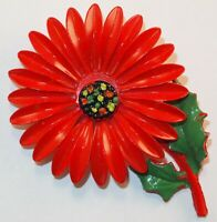 Vintage Bright Red & Green Enamel Multi Colored Center Flower Figural Brooch Pin