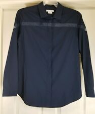 LACOSTE Women's Navy Blue Dress Shirt Size 42 Button Down Mesh Stripe Career