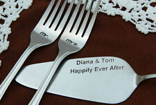 Сake Server and Forks Set, Personalized Wedding Forks and Cake Server