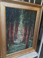 Vintage Antique Early California 1962 Redwood Landscape Tree Framed Oil Painting
