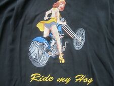 Embroidered Motorcycle Shirt RIDE MY HOG Harley Chopper Pin Up L CHAN JACKSON