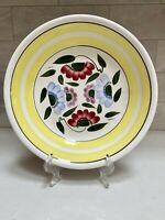 "Large 11"" Ironstone Ware Yellow Stripe Floral Serving Bowl Pasta Bowl"