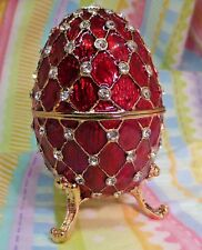 Red Grid Faberge Egg Crystal Enameled Hinged Collector or Trinket Box New!