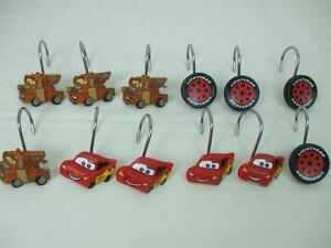 12 Shower Curtain Hooks Hangers Kids Bathroom Truck Sports Car Tire Wheels Resin