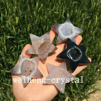 Natural Geode Agate hole five-pointed star quartz crystal point Reiki Healing