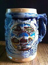 "Vintage Mini Blue Porcelain Beer Stein Tankard Virginia City Japanese 4 3/4"""