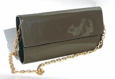 bbb2ab0cfa Bloomingdales Taupe Patent Leather Clutch Date Bag Purse 10