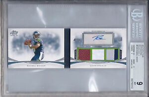 RUSSELL WILSON 2012 TOPPS PRIME AUTOGRAPHED RELICS LEVEL III 4/5 BGS 9/AU 10