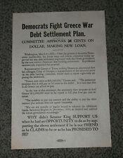 1924 DEMOCRATS FIGHT GREECE DEBT SETTLEMENT PLAN 1924 Political