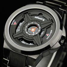 INFANTRY Mens Quartz Wrist Watch Analog Sport Army Luxury Black Stainless Steel