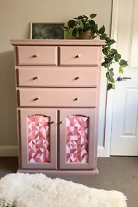 Geometric Tallboy Cupboard Drawers PICK UP ONLY