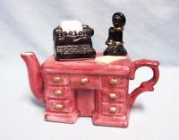 Miniature Vintage Teapot Ceramic Decorative Collectible Desk with Typewriter