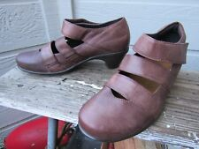Naot Brown Strappy Leather Comfort Pump Heel EU 38 L 7 MUST SEE Hook and Loop