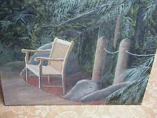 #882 ORIGINAL VINTAGE OIL PAINTING TROPICAL PALM TREES SINGLE CHAIR STILL LIFE C