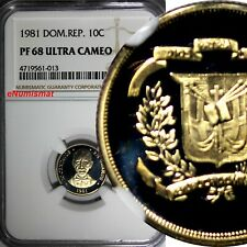 DOMINICAN REPUBLIC PROOF 1981 10 Centavos NGC PF68 ULTRA CAMEO TOP GRADED KM# 50
