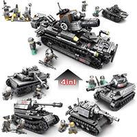 950pcs 4in1 Militär Panzer Tank Modell mit Soldat Figuren Bausteine Spielzeug
