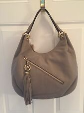 MICHAEL Kors Charm Tassel Dark Taupe Large Shoulder Tote Leather NWT Retail $368
