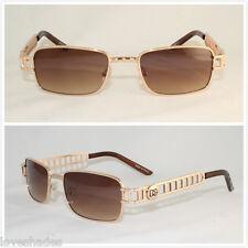 New Mens Small Vintage Retro DG Sunglasses Eyewear Shades 80s Rectangular Gold