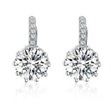 Jeanette Round Brilliance Hoop Earrings 2.75 carat CZ Cubic Zirconia - CRYSTALA