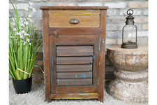 Reclaimed Rustic 1 Drawer +1 Door Solid Wood Shutter Cabinet Bedside/Lamp Table