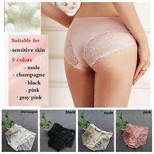 1pcs Womens 100% Pure Silk Briefs Knit Panties Lace Underwear Knickers Lingerie