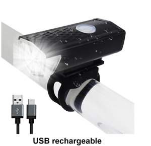 Bike Light USB Rechargeable 300 Lumen 3 Mode Bicycle Front Light Head NEW A32