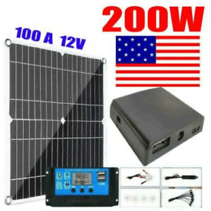 200W Solar Panel Kit 12V battery Charger 100A with Controller Caravan Boat US