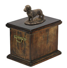Wood Casket Dachshund Wireha  Memorial Urn for Dog's ashes, with dog statue.(23)