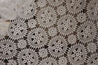 Crochet Lace Coverlet Vintage French hand-made or curtain / drape 86X97 inches