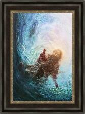 Yongsung Kim HAND OF GOD SAVE ME 31x23 Framed Canvas Giclee Jesus Reaching Hand
