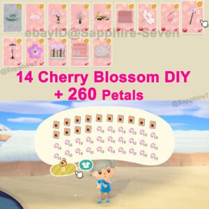AC:New Horizons FULL 14 DIYs Cherry-Blossom ➕ 260 Petals Craft Material
