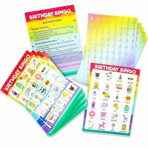36 Pack Birthday Party Bingo Game Cards Set for Kids Party Supplies Favors