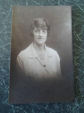 Vintage RP Postcard - Lady Wearing Maple Leaf Shape Badge