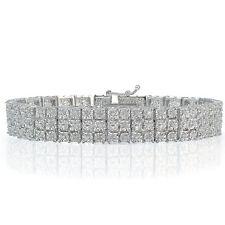 1.00ct TDW Diamond Miracle Set 3-Row Tennis Bracelet in Brass