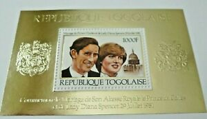 TOGO WEDDING OF CHARLES AND DIANA# 1106 GOLD AND EMBOSSED MNH SOUVENIR SHEET