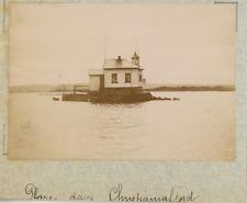 Norvège, Oslo, Christiania, phare dans le fjord  vintage albumen print,Photos