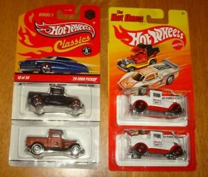 Hot Wheels 1929 Ford Pick up Truck,. Hot Ones Classics 5 *Chase* Lot of 4 Trucks