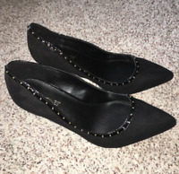 Catherines Shoes Black Circle Stud Heel Pumps Womens Plus 8 9 10 11 Wide NIB