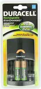 Duracell Value Charger w/ 2 AA Rechargeable Staycharged, Battery Batteries