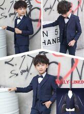 5 pcs Plain Navy Blue Boys Formal Wedding Suits Set Sz 2,3,4,5,6,8,10,12,14