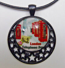London Phone Booth Vintage World Travel Stamp Chain Necklace Glass Pendant Gift