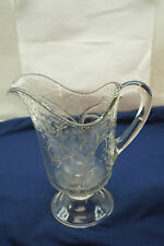ANTIQUE EAPG GLASS PITCHER DEER AND OAK TREE FINDLAY OHIO DALZELL GILMORE 8.5in
